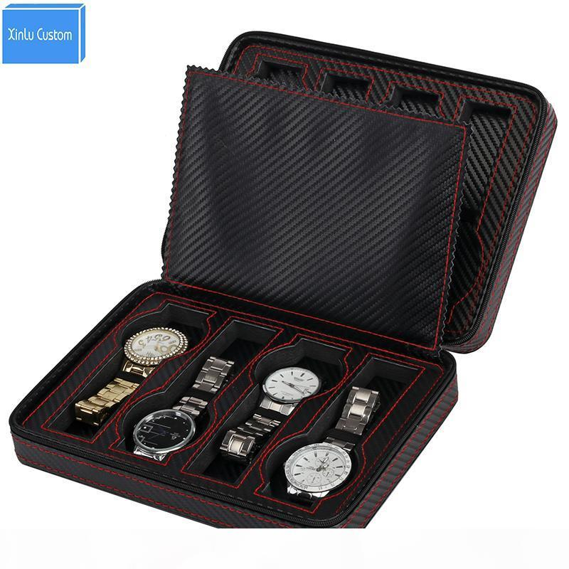 2018 nuovo regalo cerniera Protect 8 cuoio portatile griglie per il caso della vigilanza di marca UE BoxCase Guarda sacchetto dell'organizzatore di immagazzinaggio caja boite versare montre
