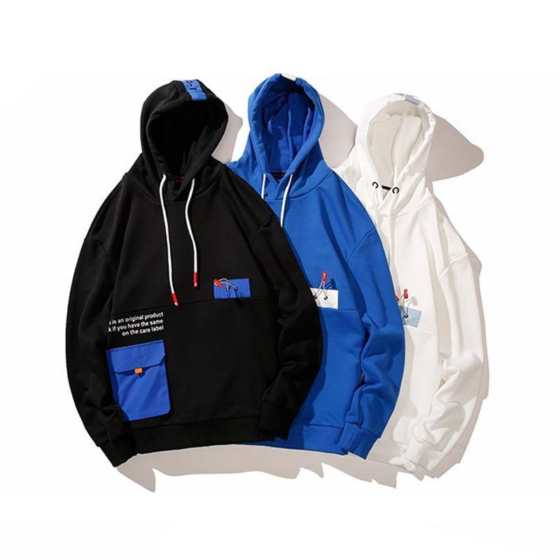 Mens Hip Hop Hooded Hoodies New Fashion Pocket Sweatshirts Streetwear Male Harajuku Hoodies Pullover Male Loose Tops