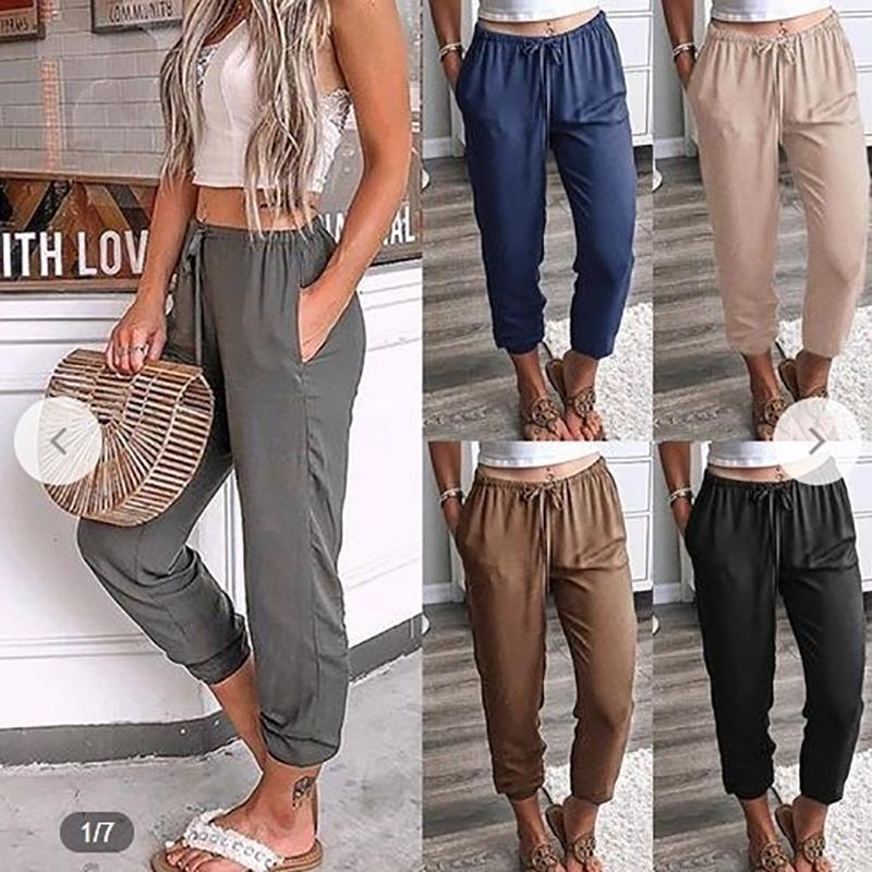 Женщины Solid Color шнуровка Девять брюки с низкой талией повседневные брюки отдыха Тонкий спорта гетры девушки гетры Jeggings Legins O5A074