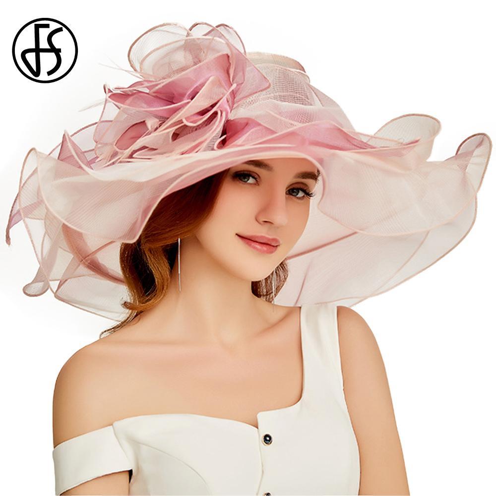 FS 2020 Organze Yaz Kilisesi Şapka Kadınlar Şık Büyük Geniş Brim Bayanlar Vintage Fedoras ile Big Çiçek Pembe Plaj Şapka Y200619 İçin