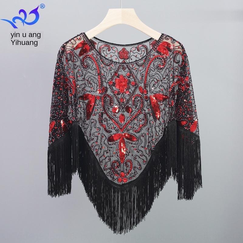 Große Größe aushöhlen Mantel Pullover Mantel Quasten unregelmäßiger Schal Pullover Pailletten Mantel Mesh ärmellos kleine Weste