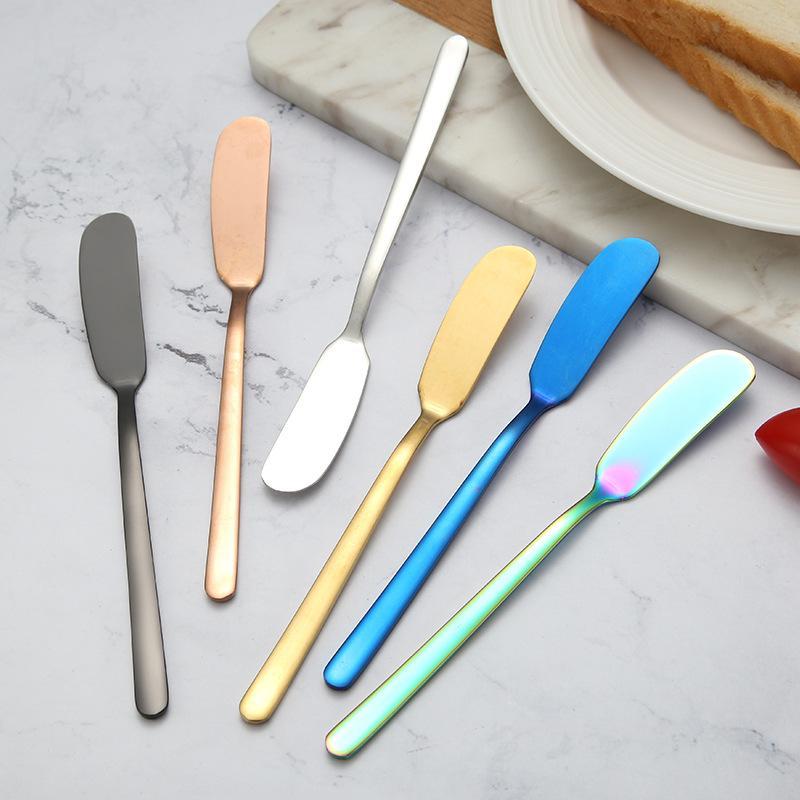 لوازم المنزل مطبخ متعدد الألوان زبدة سكين متعددة الأغراض 304 الفولاذ المقاوم للصدأ سكين الزبدة جام كعكة سكين جام زبدة كعكة أداة البسط DH0459