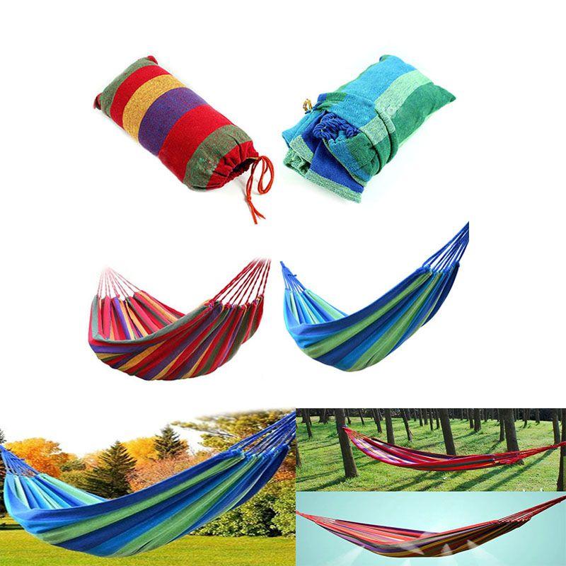 2colors rede listrado portátil ao ar livre Jardim Hammock Pendure cama de viagem Camping balanço pendurado Cama lona portátil