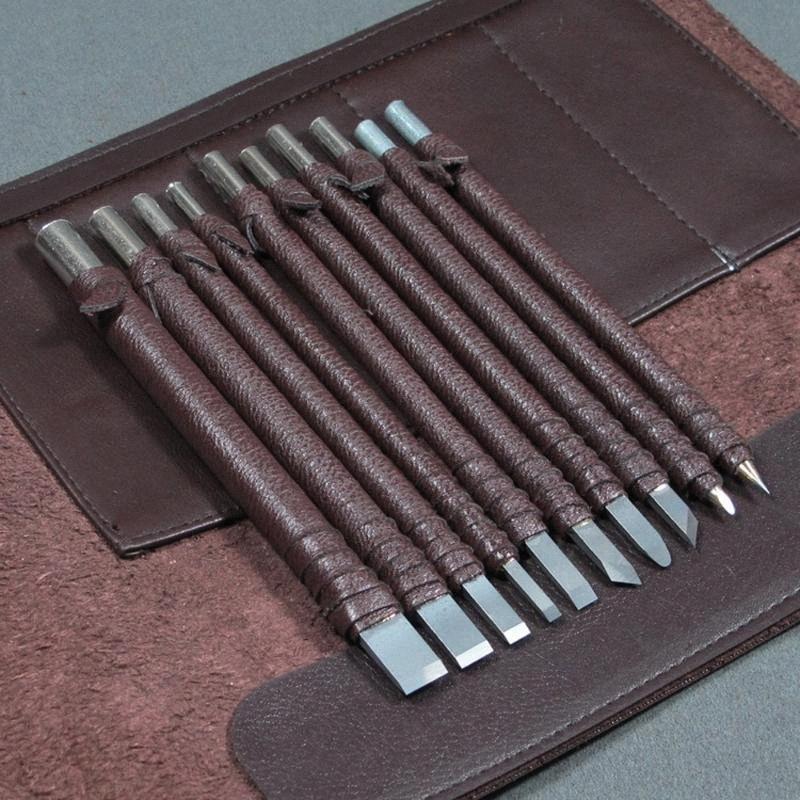 Sculpture Cutter Sculpture sur bois Outils Set Couteau tungstène Joint Acier Pierre Lettrage Gravure Burin Tool Kit Outils E6pX #