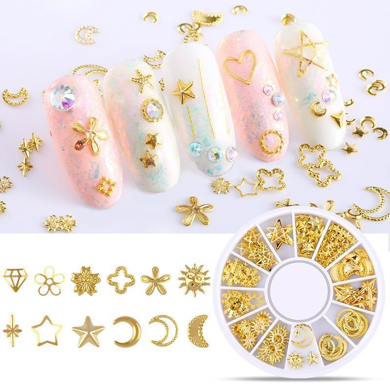 3d الذهب المعادن المسامير مسمار الفن جولة القلب الديكور الأظافر ملصقا مانيكير diy الملحقات 17 أنماط