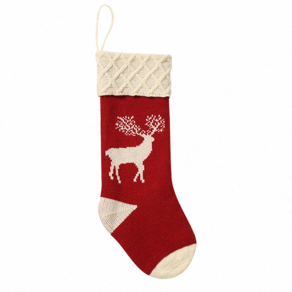 1PC Albero Hanging Gift Bag lavorato a maglia del partito decorativo festa Ornamenti Candy casa Elk Stampa Festival di Natale Calze Props kmzc #