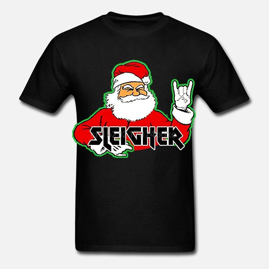 Sleigher METAL SANTA Tişört Hail Santa Komik Noel (1) soğutmak Baskılı Tişört tee üst tişört Erkekler