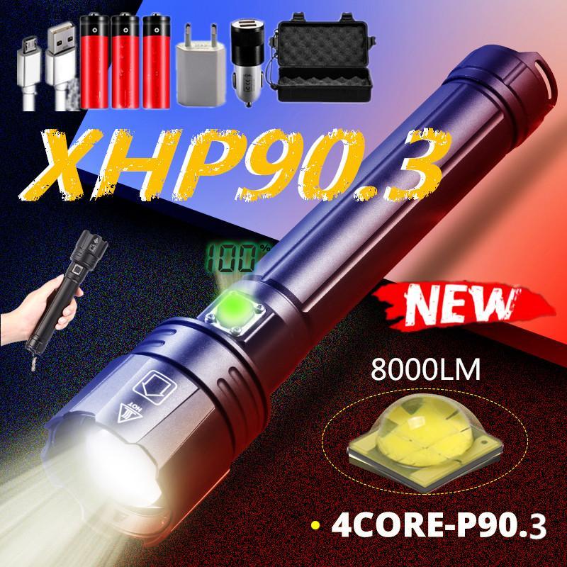 슈퍼 밝은 Xhp90.3 가장 강력한 LED 토치 Xhp70 전술 손전등 줌의 USB 충전식 26650 18650 플래시 라이트