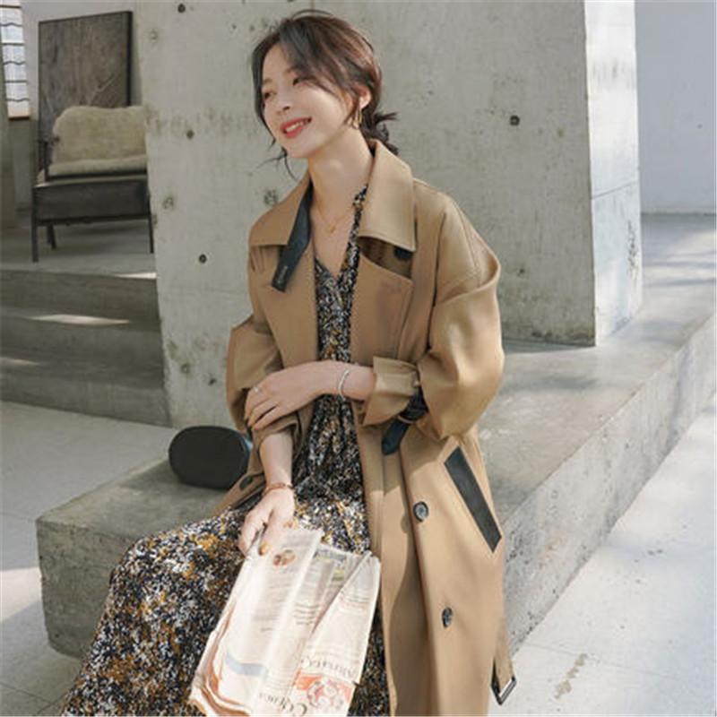 2020 Lunga Trench stile coreano vita sottile allentato Windbreaker cappotto di nuova primavera di autunno delle donne femminile Cappotti G499