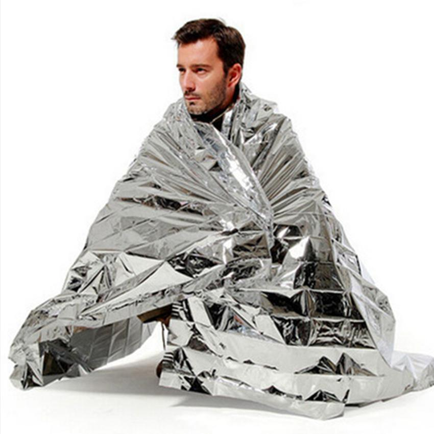 210*130cm Silver Waterproof Emergency Survival Foil Thermal First Aid Rescue Life saving Blanket Camping Blanket kits gadgets DLH440