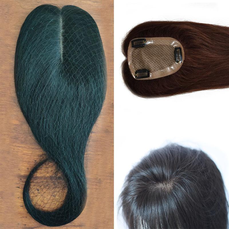 Vierge indienne Human Hair 6 * Base de soie 12 Taille Toupet Extensions cheveux couleur naturelle, Brown Couleur, 3pcs un lot, livraison gratuite