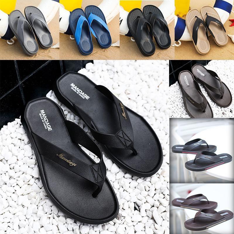 Top-Qualität Marken-Design Sliders Mens-Sommer-Sandelholz-Strand-Hausschuhe Flip Flops Loafers Schwarz khaki blau grau Slides Chaussures Schuhe