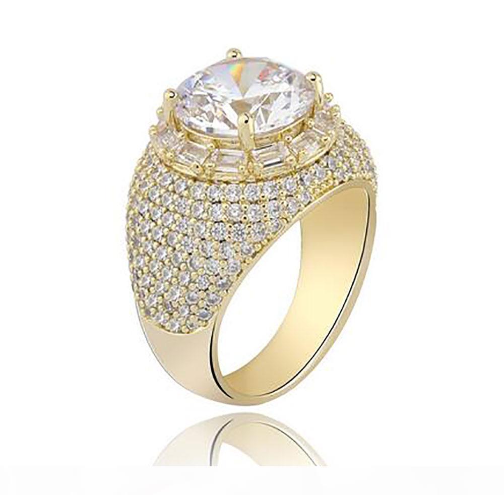 D 14k Hip Hop-Meisterwerk Gold-Cz Bling Ringe Herren Micro Pave Zirkonia Simulierte Solitaire Diamanten Ring