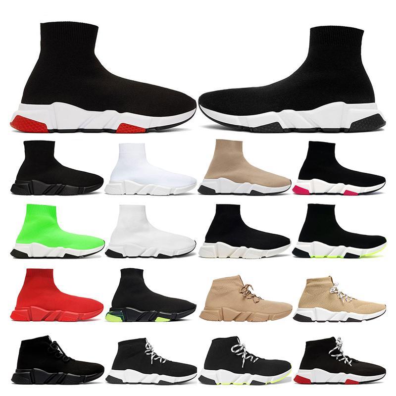 Balenciaga shoes Sapatos de grife Treinador de Velocidade Marca bule preto branco vermelho Moda Plana das mulheres dos homens Meias Botas Sapatilhas Formadores Formadores tamanho Runner 36-45