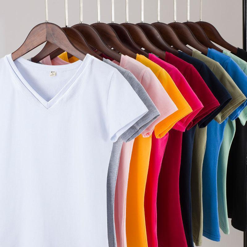 2020 새로운 브랜드 여성의 95 % 코튼 T 셔츠 단색 짧은 소매 여성 T - 셔츠 여성 슬림 최고 여성 T 셔츠 의류