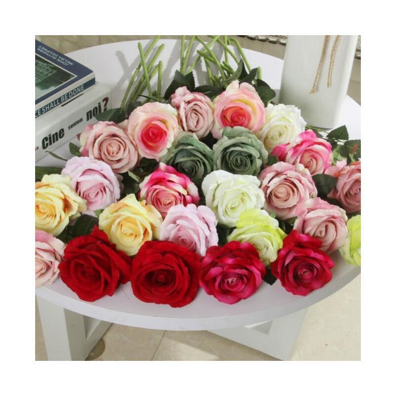 Único faux veludo rosa longa haste e verde licença artificial flores casa mesa de casamento decoração do hotel