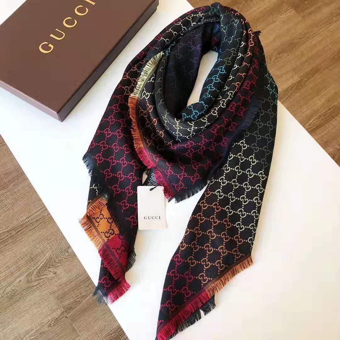 2019 New High Quality Celebrity design Wool cashmere Cotton scarf Wrap shawl Letter Scarves Large square 140*140CM Rainbow color black