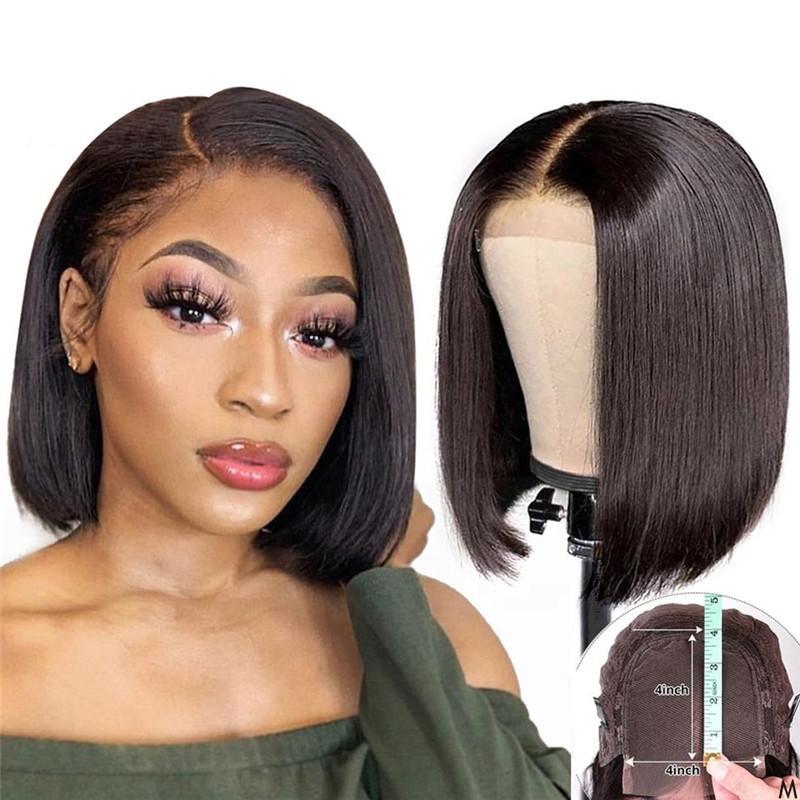 4 * 4 Dantel kapatma peruk Brezilyalı bakire saç kapanması kaliteli peruklar peruk Kısa İnsan Saç dantel kesilmiş bob