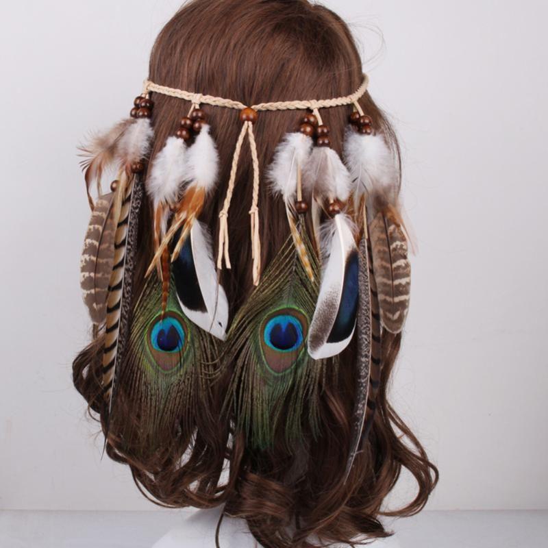 Chegada Nova Mulheres Cor Bead Headband Bohemian Peacock Feathers Couro Pingentes Acessórios Banda de cabelo feminino cabelo