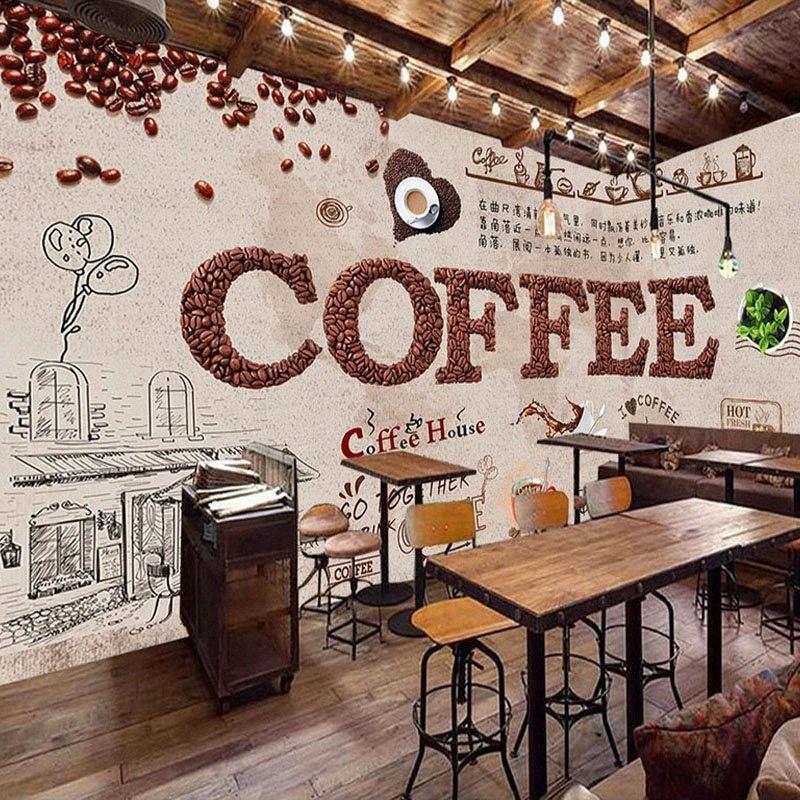 3D Wallpaper mano Stile Europeo Personalizzato verniciata estratto Caffè Ristorante Bar Latte negozio Carte di parete Papel De Parede Sala tlzf #