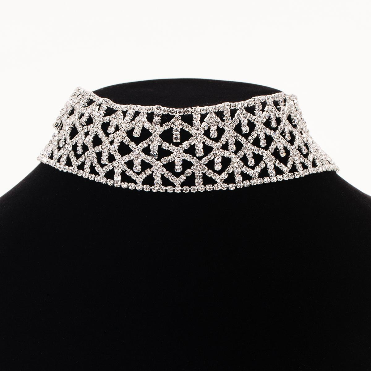 Crystal Rhinestone Choker Necklace Simple Elegant Silver Color Party Wedding Jewelry For Women