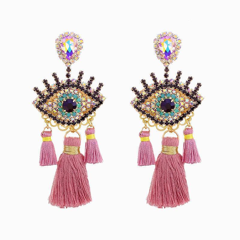 Gioielli Sehuoran il nuovo disegno della nappa Orecchini Matrimonio pendente dell'occhio di orecchini per le donne Bohemian partito elegante orecchini di goccia ciondolano