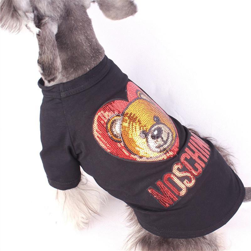 Sequins Classic Bear Dog Shirt Shining Letter Pet T-Shirt Bulldog Hiromi Teddy Apparel Fashion Dog Shirt Clothing