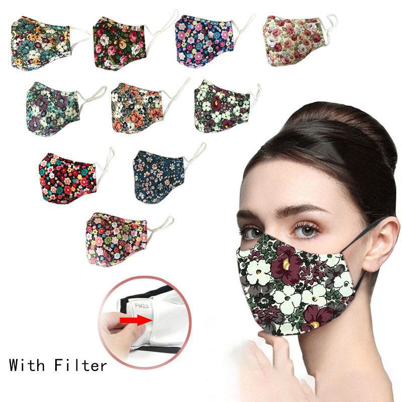 Auf Lager DHL Art und Weise druckte Baumwolle Design Gesichtsmaske Staubmaske kann mit Wasser und eingefügt mit Filter Gesichtsmasken gewaschen werden