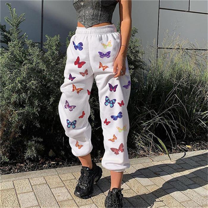 Бабочка шаблон женские брюки лето мода Сыпучие фонарь брюки эластичный пояс скейтборд Casual Женщины Дизайнерская одежда