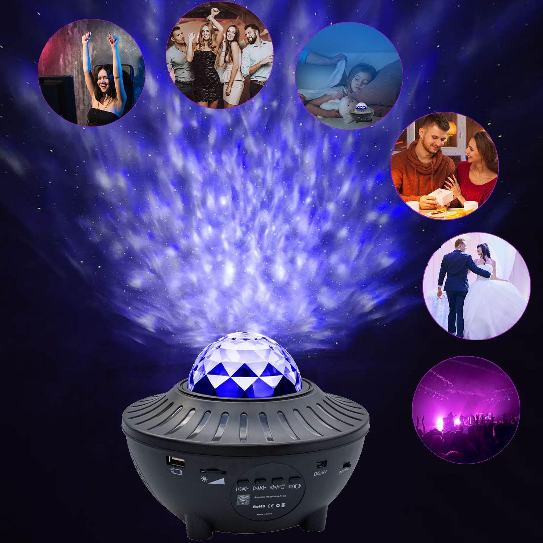 USB 워터 패턴 불꽃 빛 블루투스 음악 오션 스타 라이트 프로젝터 라이트 야간 램프 레이저 물 패턴 프로젝터 라이트