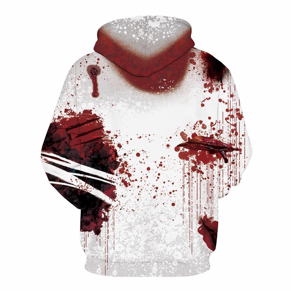 Приграничная горячая кровь падение Шрам цифровой печати с капюшоном свитер европейского и американская мода осень и зима Mens вскользь длинные рукава Ho