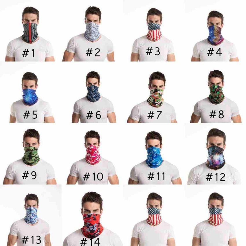 Fashion Bandana Camo Gesichtsmaske Outdoor Sports Stirnband Turban Kopftuch Magie Schals Radfahren Gesichtsmasken CYZ2550 300Pcs