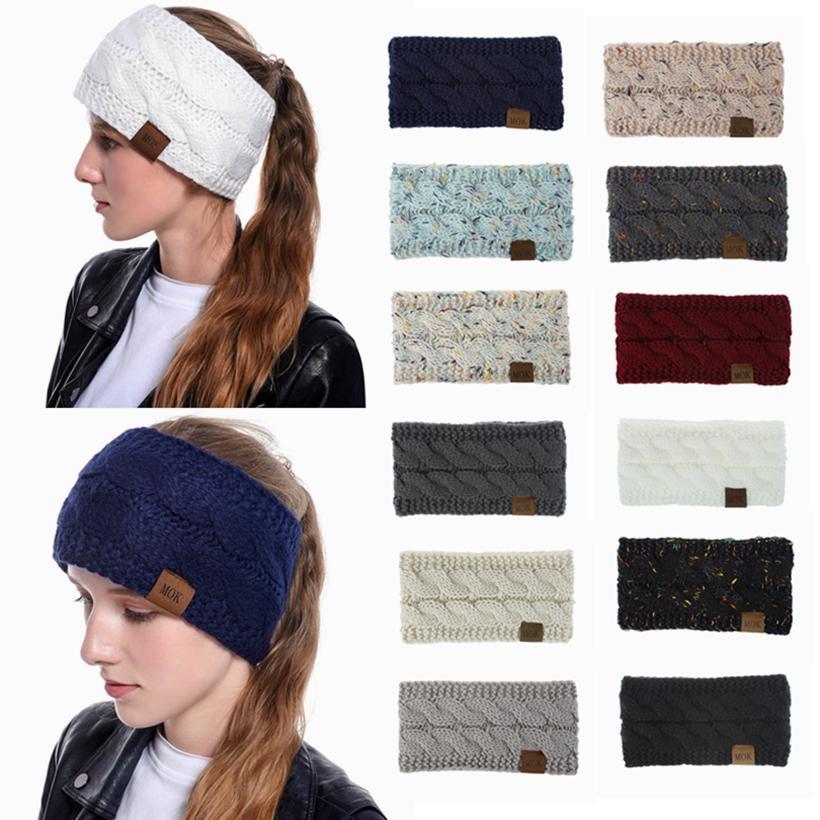 Tricotée Crochet Bandeau oreille hiver chaud élastique Twist cheveux bande colorée Headwarp souple en tricot d'hiver Earmuffs HHA1491