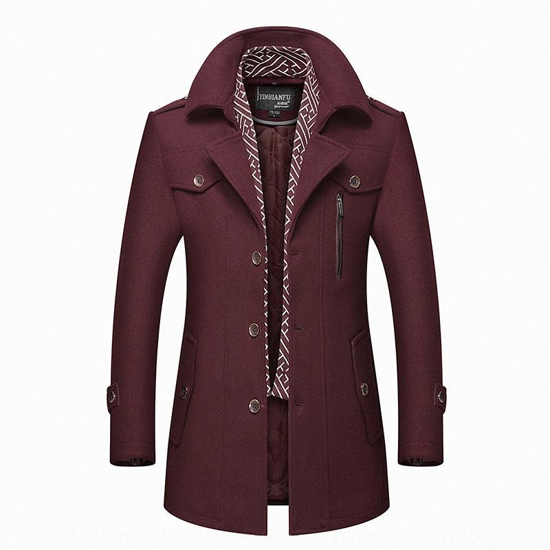 2020 Шарф Ветровка мужская среднего возраста траншею утолщенной шерстяное пальто шарф воротник мужской шерстяной плащ