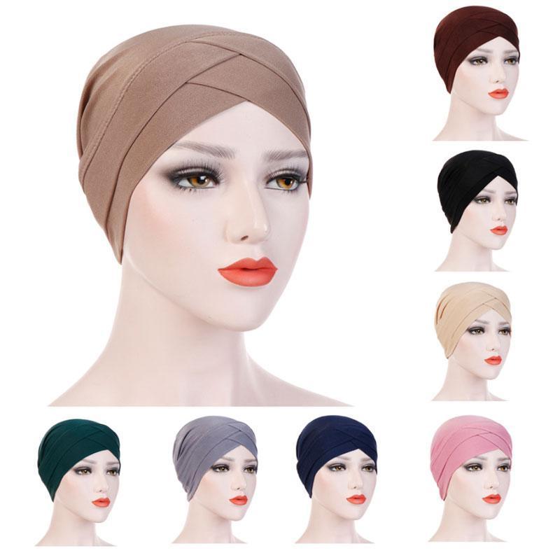 Neue Frauen-Mädchen elegant Stretchy Turban Stirn Kreuz Indien Hut Kopf-Verpackungs-Chemo Solid Color Bandana Muslim Caps Kopfbedeckung