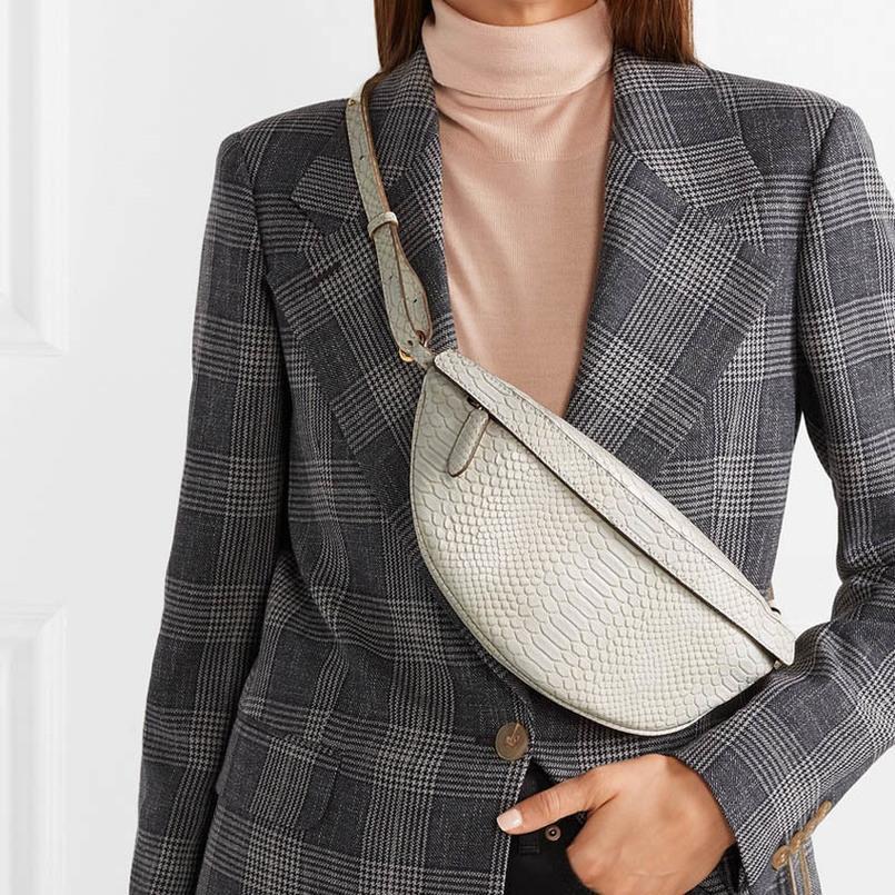 Cuoio di alta qualità delle donne del sacchetto della cassa della pelle Serpentine Marsupio Snak Shouder Bag femminile Viaggi zip pacchetto di Fanny 0276