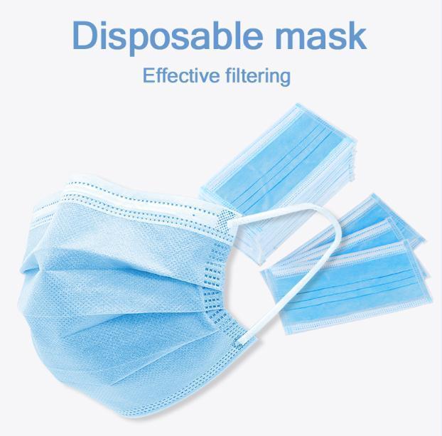 Em Máscaras Stock !!! descartável face azul gancho 3 Camada elástica para Máscara Anti Poeira Segurança de protecção Uso Doméstico Navio DHL Confortável
