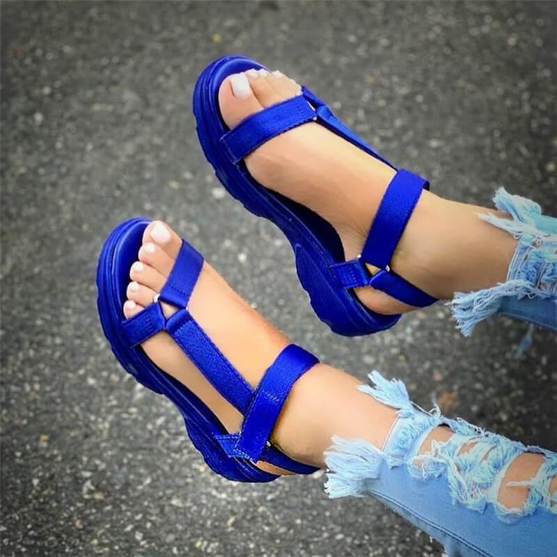 Femmes d'été grande taille souple multi couleurs plage cheville Wedge chaussures plate-forme pour dames filles Sandales pour les femmes Y200620