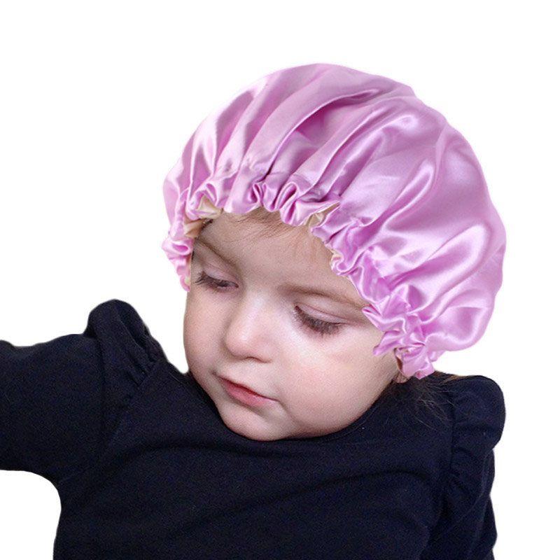New Kids morbida reversibile raso Bonnet doppio strato misura adattabile Dormire Night Cap Bonnet cappello per i bambini
