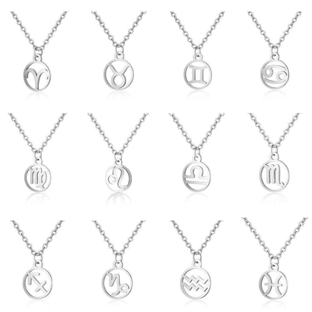 Collana Segno 12 costellazione zodiacale per le donne in acciaio inox Argento Catena Leo Libra Ariete pendente del cerchio Oroscopo Astrologia Gioielli