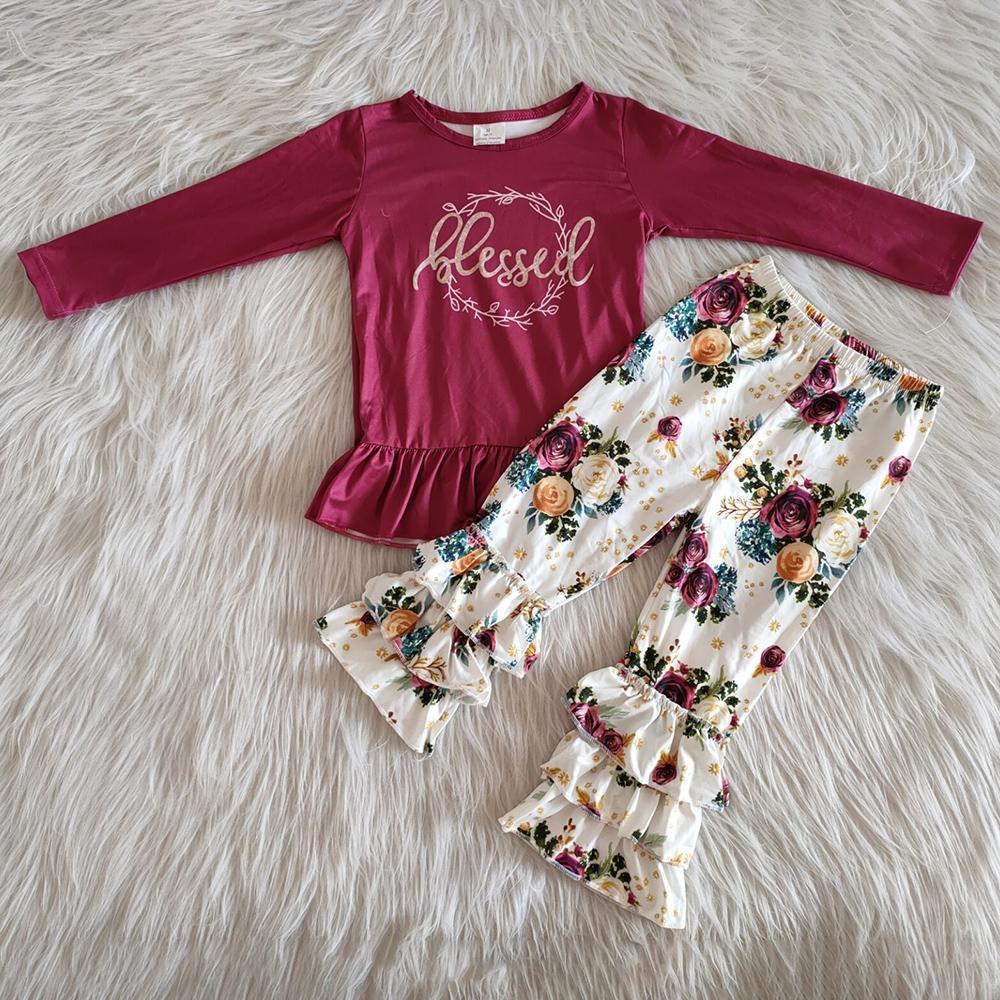 bebek bebek giysi tasarımcısı kıyafetler sıcak satış yeni tasarım yürümeye başlayan kızlar kıyafet düşmek yenidoğan kız uzun pantolon ourfits çiçekler baskı butik