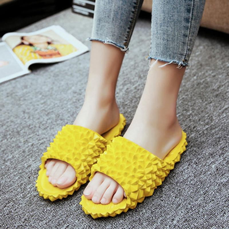 Funny Women Shoes Slippers Woman Beach Flip Flops For Women's Fashion Casual Ladies Shoes Fruit Durian Platform Summer
