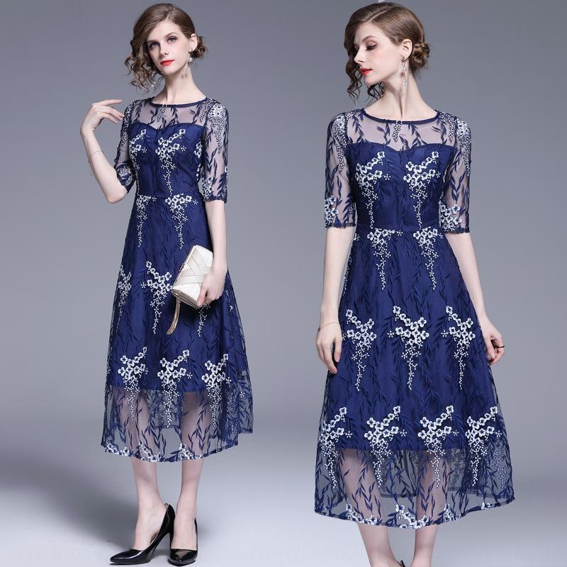 jD15u printemps bleu femmes minces maille d'été brodé 2019 et brodé nouveau Robe française