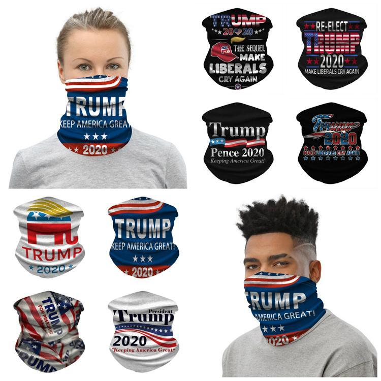 Trump 2020 Scarf Bandanas Face Mask Seamless Tube Magic Keep America Great Headbands Outdoor Sports Cycling Headwear Neck Gaiter fy9156