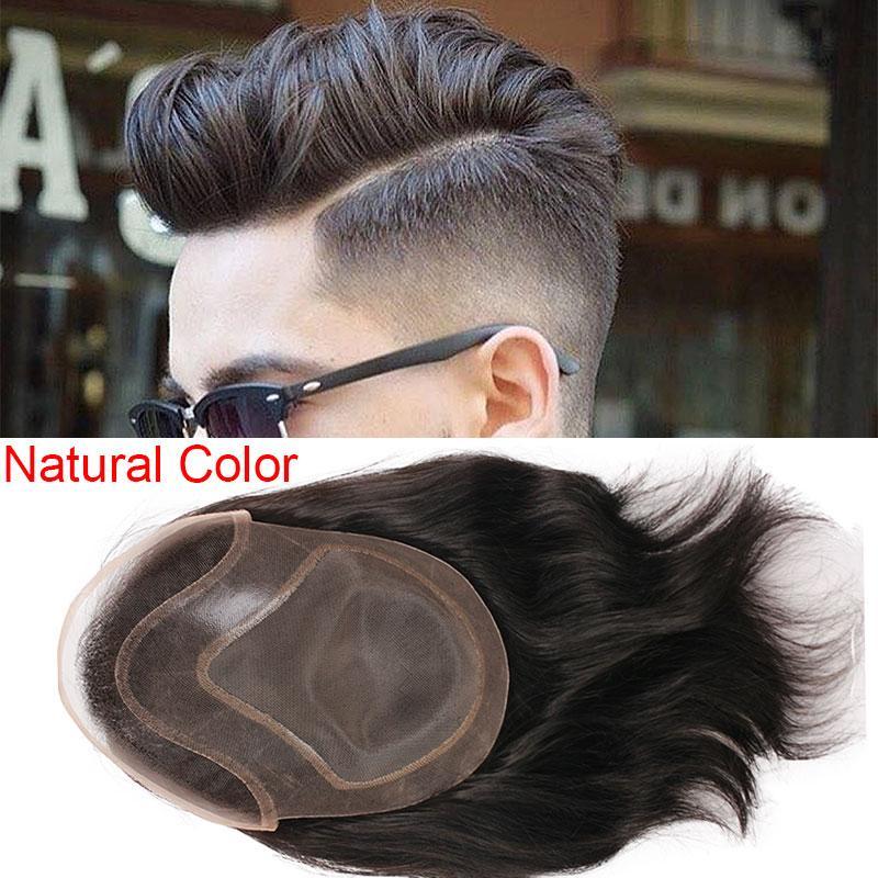 2020 Mens Toupee Haar PU mit Französisch-Spitze-Perücken für Männer europäischen Remy Menschenhaar-Ersatzsysteme Toupet 10x8inch