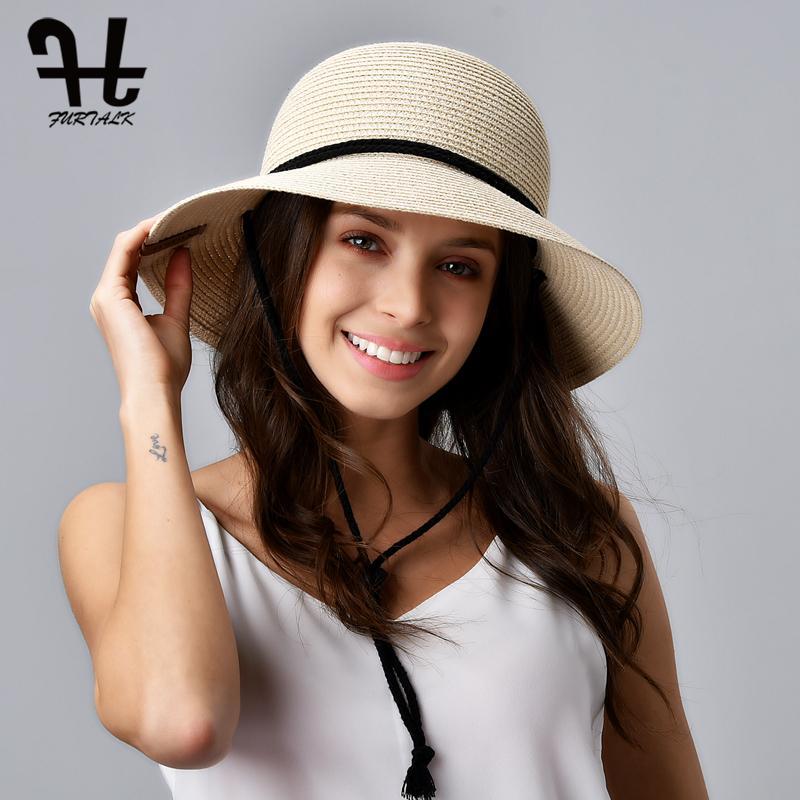 FURTALK sombrero del verano de las mujeres del sombrero de paja de la playa del sombrero de Sun Mujer de ala ancha UPF 50+ de protección solar Cubo casquillo de los sombreros con viento cuerda de seguridad Y200716