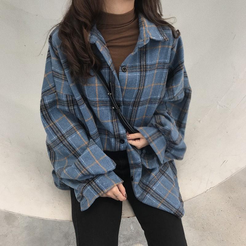 Frauen Hoodies Sweatshirts Großhandel Casual Langarm Hemd Frauen Plaid Oversize Koreanische Wolle Hemden Winter Herbst Vintage Frau