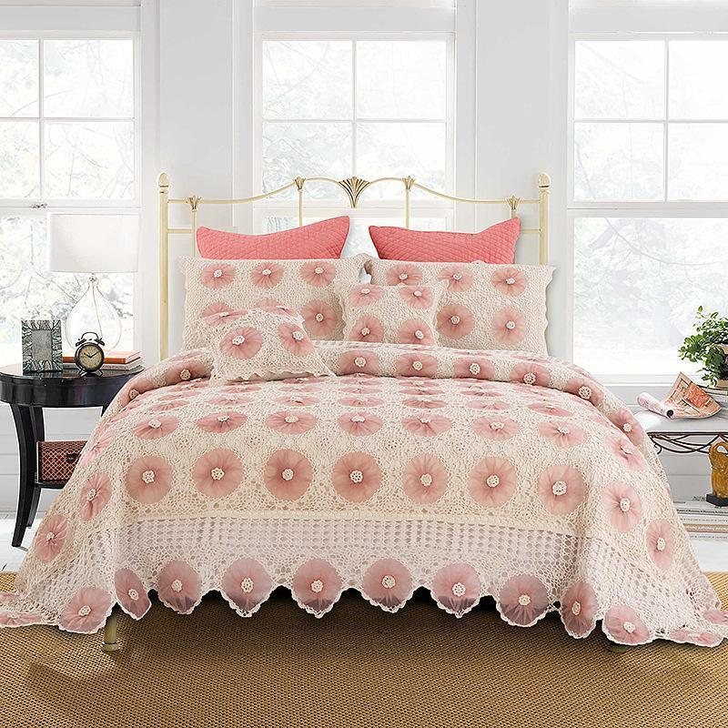 Lusso Rosa letto di lusso King Size lavorato a maglia Handmade Crochet Bed Cover Set Europa Americano Quilts copriletto Set coprimaterasso Coverletcover