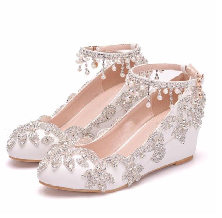 Women White Crystal Shoes Tassel Wristband Wedding Bride High Heels Sandals Female Dress Pumps Wedges CLASSIC LOOK