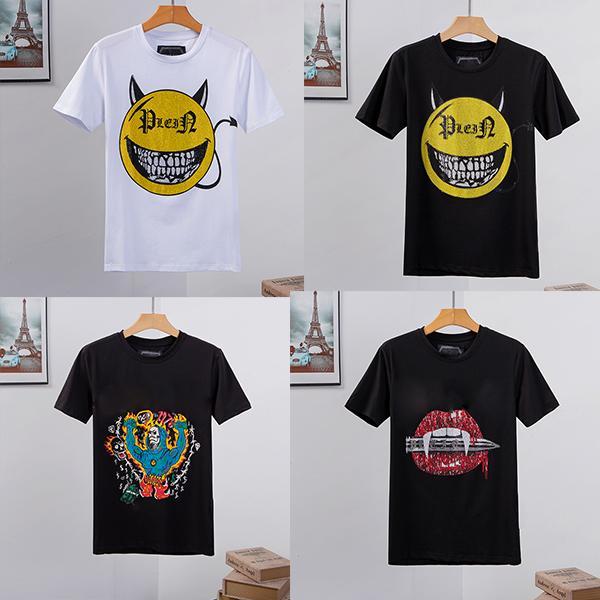 t shirt homens roupas de luxo hip hop manga curta HOT designer de crânios encabeça T marca de impressão de alta qualidade Punkr preto branco t-shirt homem M-3XL